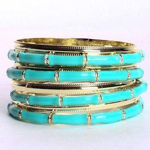 Bamboo Lacquer Bangle Bracelets | Seafoam & Gold